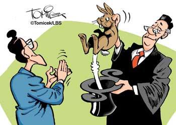Richter zaubert Hase aus Hut